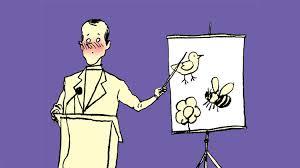a blushing white cartoon man teaching the birds and bees